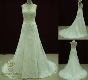Lace Trim V Neck Wedding Dress High Quality Cheaper