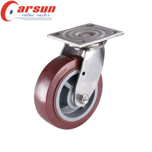 150mm Heavy Duty Fixed Castor with PU Wheel (stainless steel) pictures & photos