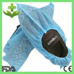Hubei MEK Disposable Anti-Skid PP Non Woven Shoe Cover with Printed pictures & photos