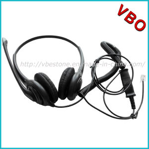 Binaural Telecommunication Call Center Telephone Headset with Noise Cancelling Rubber Mic Boom pictures & photos