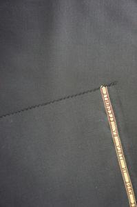 Wool Fabric for Suit Black Plain Weave