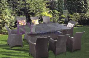 8 PCS Black Simple Outdoor Meeting Room PE Rattan Furniture pictures & photos