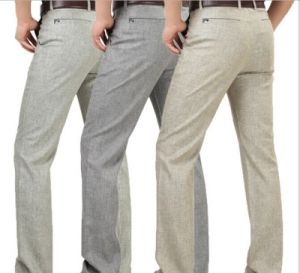Hot Wholesale High Waist Straight Casual Linen Pants for Men pictures & photos