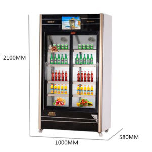 560L Sliding Glass Door Multimedia Showcase with LED Screen pictures & photos
