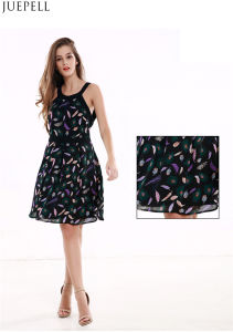 Feather Printing Summer New Slim Chiffon Print Dress Long Section of The Sleeveless Dress Bottoming a Word Women Dresses pictures & photos