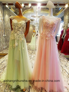 Fashion Flower Applique Beach Wedding Emerald Green Gowns pictures & photos