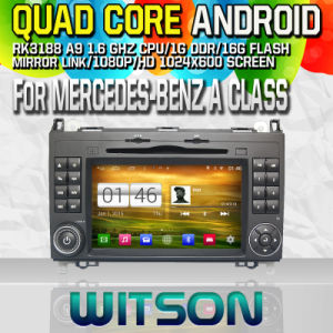Witson S160 Car DVD GPS Player for Mercedes-Benz a Class with Rk3188 Quad Core HD 1024X600 Screen 16GB Flash 1080P WiFi 3G Front DVR DVB-T Mirror-Link (W2-M068) pictures & photos