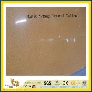 Polished Crystal Yellow Artificial Quartz Slabs for Kitchen Countertops (YQC) pictures & photos