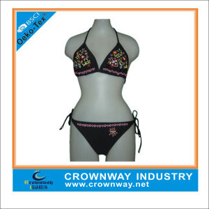 Wholesale Sexy Black Bikini with Custom Embroidery pictures & photos