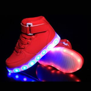 7 Colors Light up High Top Sports Sneakers with Leather pictures & photos