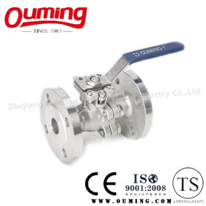 2PC Stainless Steel Flanged Ball Valve with Handle pictures & photos