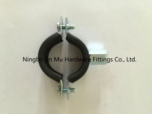 25 mm Bandwidth Galvanized Steel Pipe Clamps with Rubber and M8 / M10 Nut pictures & photos
