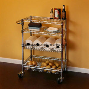 NSF Adjustable 2 Tiers Hotel Stainless Steel Service Cart Trolley pictures & photos