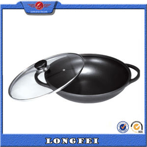 Glass Lid Two Handle Die Cast Aluminum Chinese Mini Wok pictures & photos