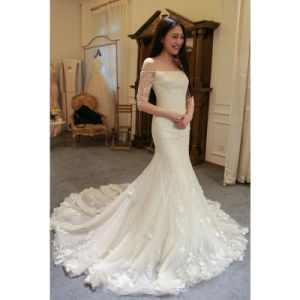 Slim Fitting Tall Long Floral Mermaid/Trumpet Bridal Wedding Dress pictures & photos