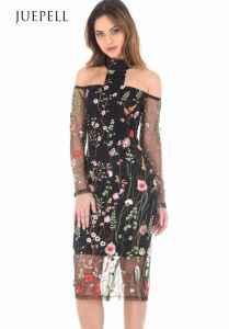 T-Bar Long Sleeve Embroidered Floral Choker Dress pictures & photos