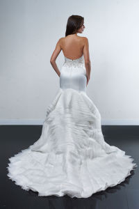 Bodice Beading Wedding Dress with Flare Skirt of Structured Layered Train pictures & photos