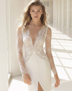 Chantilly Deep V Neckline and High Open Slit Long Sleeve Bridal Gown pictures & photos