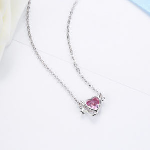 925 Sterling Silver Sweet Devil′s Heart Pink Crystal Pendants Necklace pictures & photos