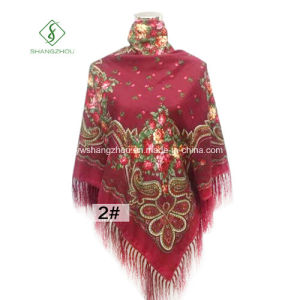 Wholesale Square Scarf with Tassel Cashew Printed Fashion Lady Shawl pictures & photos