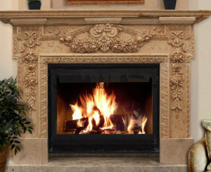 Sunny Yellow Marble Fireplace Mantel Surrounding with Remote Control Insert pictures & photos