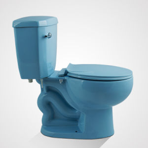 Ceramic Round Shape Floor Mounted Two Piece Wc Blue pictures & photos