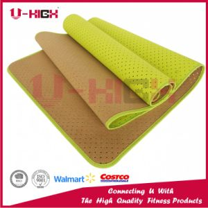 Exercise Mat Cork on Front Side, Honeycomb, Solid Color, Binding TPE Yoga Mat pictures & photos