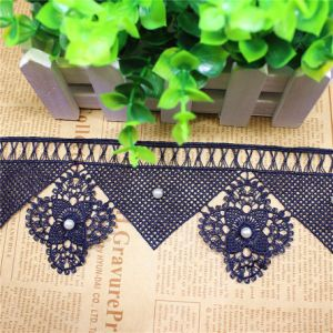 Stock Wholesale 8cm Width Embroidery Nylon Lace Polyester Embroidery Trimming Fancy Lace with Stone for Garments Accessory & Home Textiles & Curtains pictures & photos