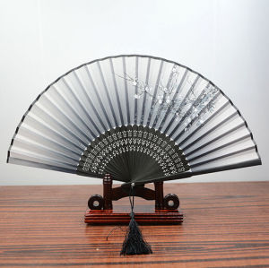 Silk Fabric Bamboo Ribs Female Print Fans pictures & photos