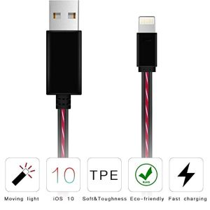 Wholesales Factroy Price USB Cable with Colorful LED Moving Red Lighting OEM Length  pictures & photos