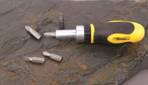 Hand Tools 5 in 1 Cr-V Steel Stubby Ratchet Screwdriver Set pictures & photos