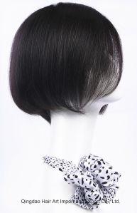 Silky Straight Mongolian Virgin Hair Short Length Silk Top Wig pictures & photos