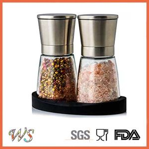 Ws-Pgs009 Salt and Pepper Mill Set with ABS Stand Manual Salt Grinder Set Spice Mill Set pictures & photos