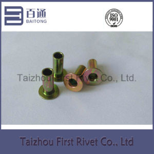 6.3X14mm Yellow Zinc Plated Flat Head Fully Tubular Steel Rivet