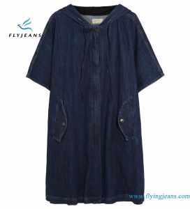 Oversized Indigo Short Sleeves Stretch-Denim Jackets for Women with Concealed Zip Fastening pictures & photos