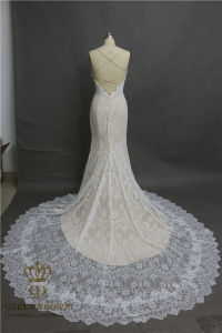 Real Photos 2017 Sexy Lace Wedding Dress Backless Sleveless Mermaid Wedding Bridal Gowns pictures & photos