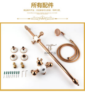 New Design Chinese Blue-and-White Ceramic Single Handle Zf-612 Brass Rain Shower Set pictures & photos