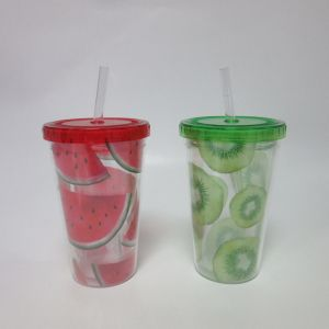 Plastic Double Wall Cup with Straw Fruit Design pictures & photos