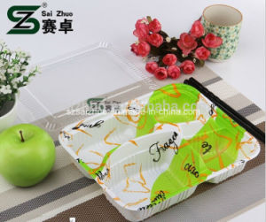 Embossing Eco-Friendly Strong Disposable 4 Compartment Plastic Lunch Box pictures & photos