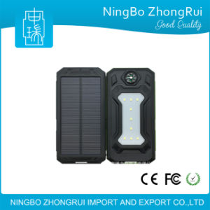 2017 New Useful Outdoor Products Waterproof Solar Power Bank 10000mAh Solar Charger Compass Flash Light LED Light for Camping pictures & photos
