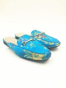 Royal Blue Satin Upper Real Leather Sock Women Slipper