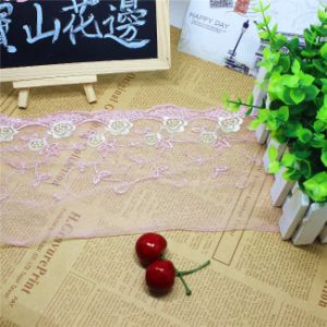 Factory Stock Wholesale 15cm Width Polyester Embroidery Trimming Nylon Flower Net Lace for Garments & Home Textiles & Curtains Accessory pictures & photos