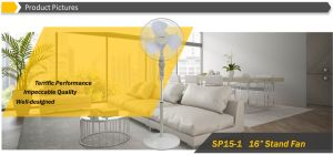"""Hot Sale 16"""" Oscillating Stand Fan with Wheel Design Speed Control pictures & photos"""