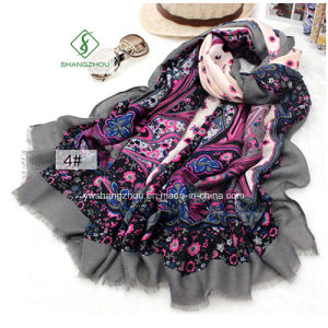 New Design Fashion Lady Satin Sillk Scarf with Printied Shawl pictures & photos