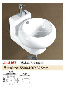 Sanitary Ware Bathroom Fitting Wall-Hung Wash Basin Bathroom Sink (8097) pictures & photos