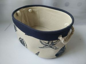 Canvas Oval Storage Basket with 2 Rope Handles and EVA Inside pictures & photos