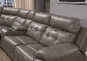 Living Room Furniture Comfortable Beige Color Sectional Recliner Sofa Air Leather Transitional Set with Console pictures & photos
