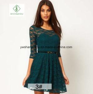 Hot Sale European Lace Dress All-Match Slim Waist Ladies Dress pictures & photos