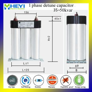 Single Phase Square Type Oil Harmonic 50 kvar Film Capacitor pictures & photos