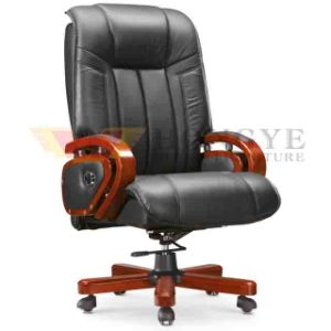 Wooden Frame Black PU Leather Chair Western Office Furniture for Office Furniture pictures & photos
